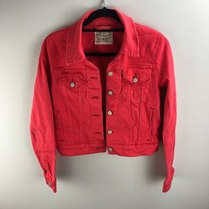 Levi's Coral Cropped Jacket Size M